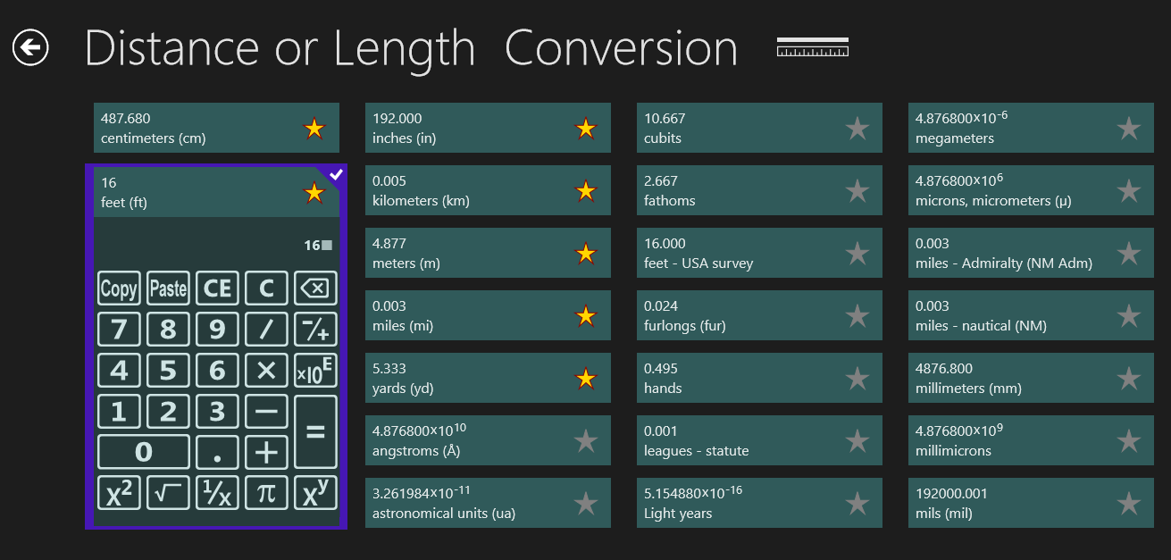 Length or distance conversion screenshot